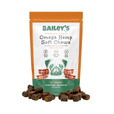Bailey's CBD Omega Soft Chews - Bacon Flavored 30 count