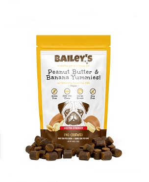 Bailey's Peanut Butter & Banana Yummies! Large Breed Extra Strength 30 Count Bag w/ 6MG CBD Per Chew