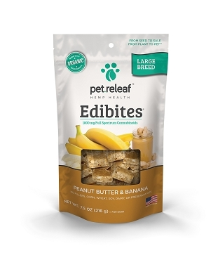 Pet Releaf Large Breed CBD Dog Treats – Hemp Oil Edibites with Peanut Butter & Banana