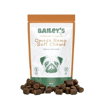 Bailey's Omega Hemp Soft Chews - Bacon Flavored- 60 Count