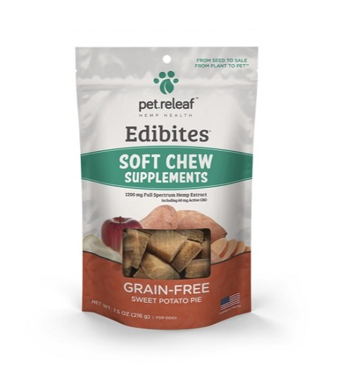 Pet Releaf Grain-Free Soft Chew Sweet Potato Pie Edibites Regular and Large Breed